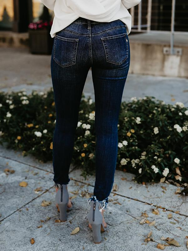 Charmystery Shredded Slim-fit Cotton Pencil Jeans
