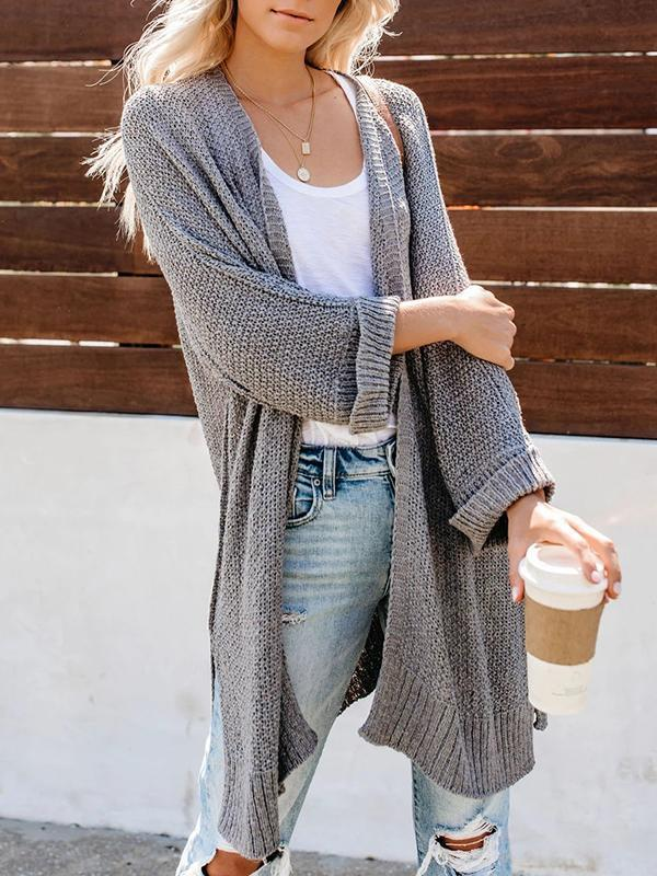 Charmystery Easy Knit Grey Mint Cardigan Sweater