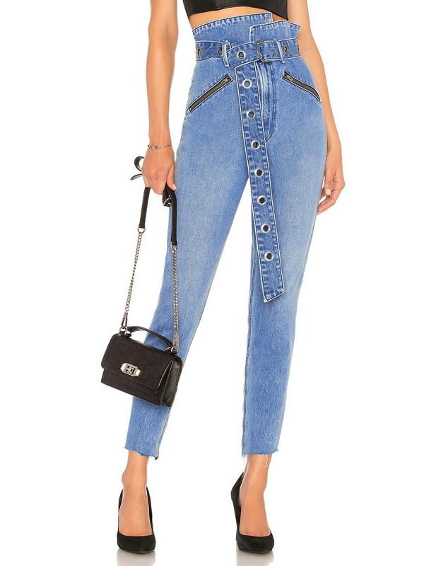 Charmystery High Waist Lace-up Diagonal Zipper Jeans