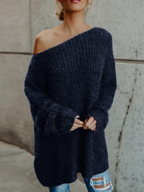 Charmystery Off The Shoulder Oversized Comfy Sweater