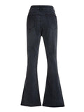 Charmystery Fashion Black Simple High Waist Flared Jeans