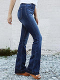 Charmystery High-waist Stretch Slim-fit Elastic Flared Jeans
