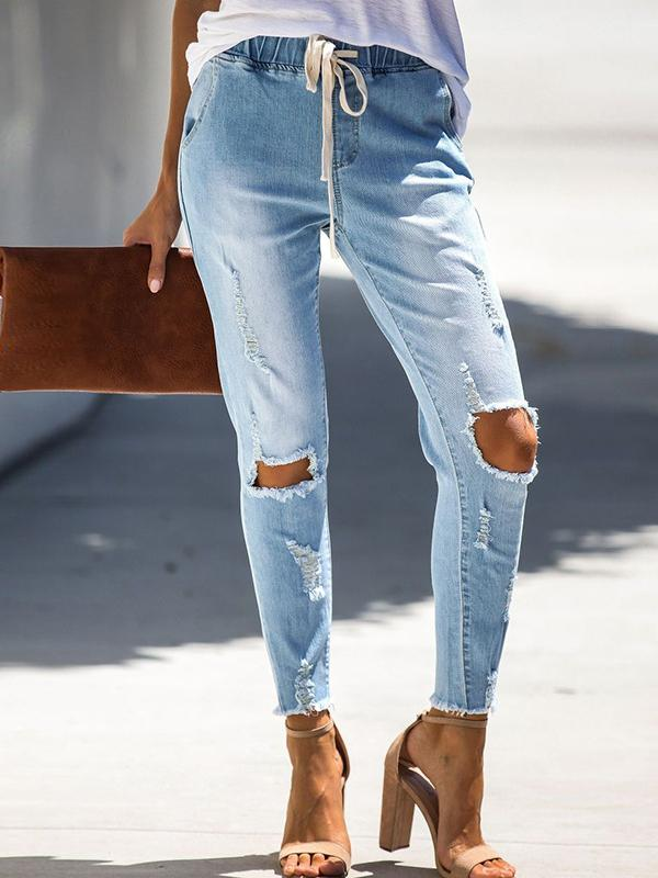 Charmystery Belted Hole-breaking Jeans