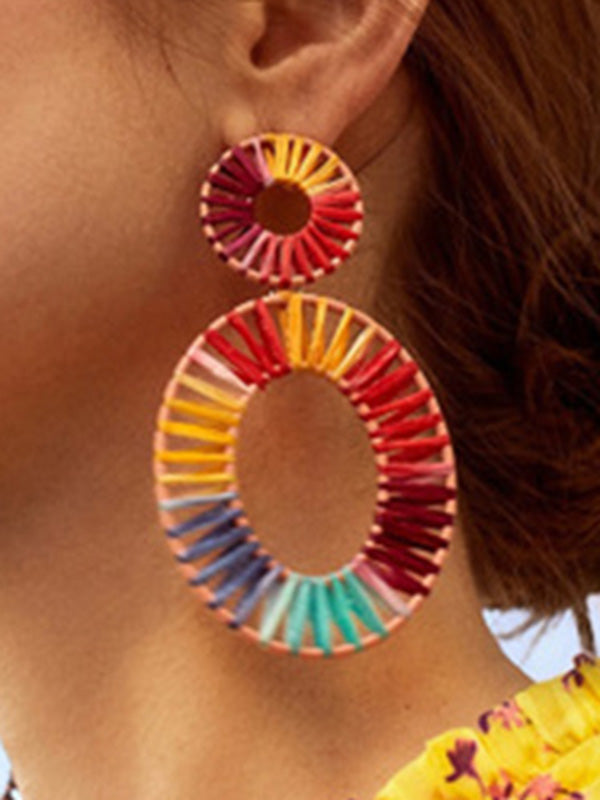 Charmystery Knitting Double Circle Earrings Bohemian Ethnic Earrings