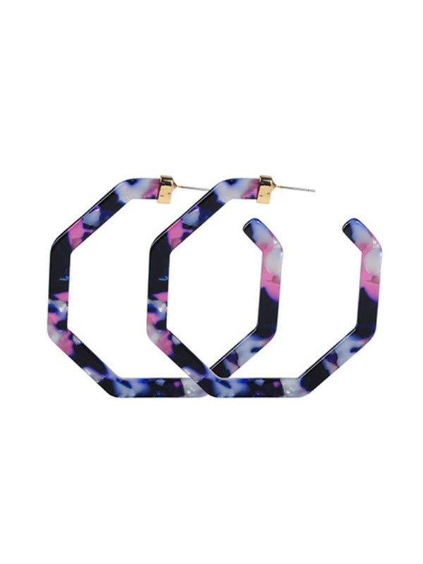 Charmystery Polygonal personality leopard earrings