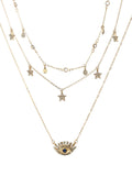 Charmystery Women's Diamond Pentagram Eye Pendant Multilayer Necklace