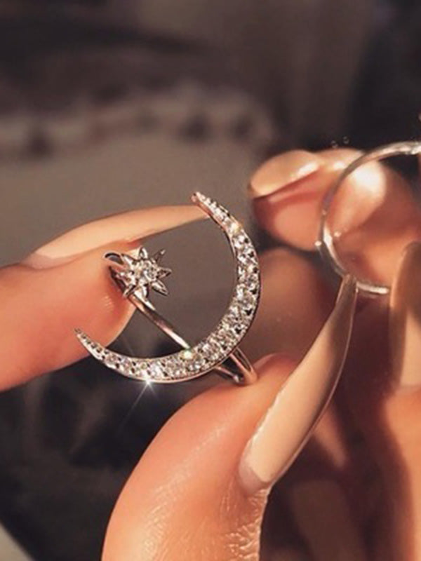 Charmystery Crescent Moon Geometry Ring