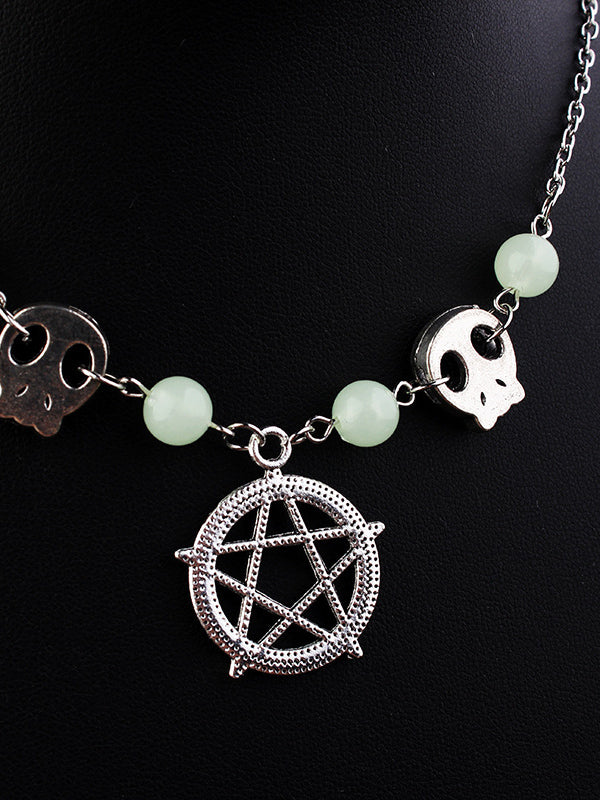Charmystery Halloween Skeleton Five-pointed Star Necklace