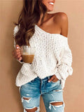 Charmystery Off Shoulder Loose Sweater