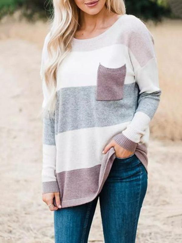 Charmystery Stripe Round Neck Cute Sweater