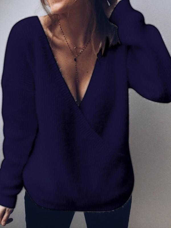 Charmystery Sexy Deep V Neck Plain Sweater