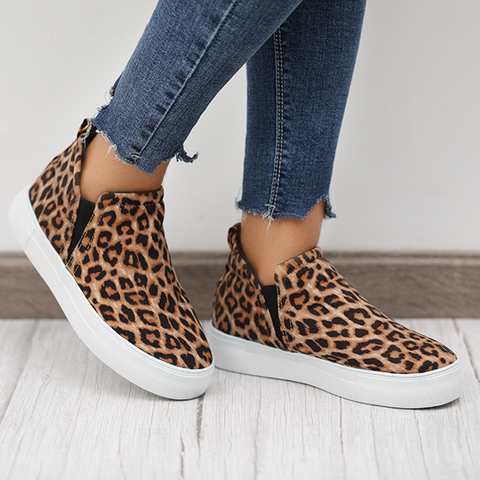 Charmystery Women Leopard Casual Sneakers