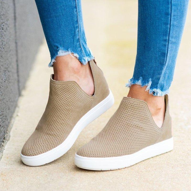 Charmystery Slip-On Round Toe Breathable Sneakers