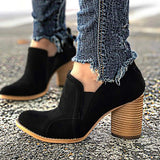 Charmystery Ankle Slip On Casual Chunky Boots