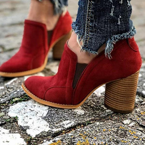 Charmystery Elegant Slip On Chunky Heel Ankle Red Boots