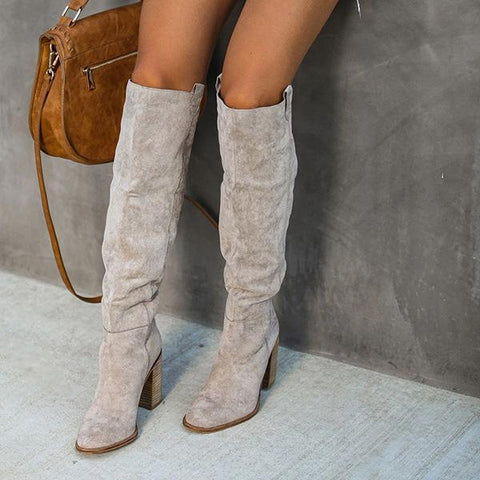Charmystery Distressed Faux Suede Slouch Boots