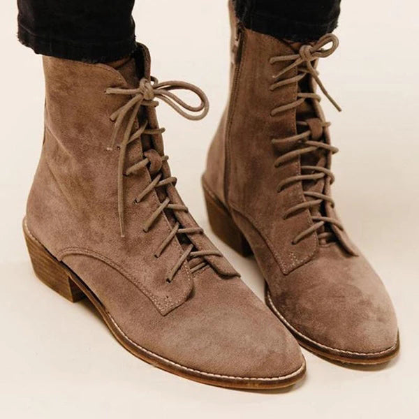 Charmystery Women Lace-Up Zipper Elegant Boots