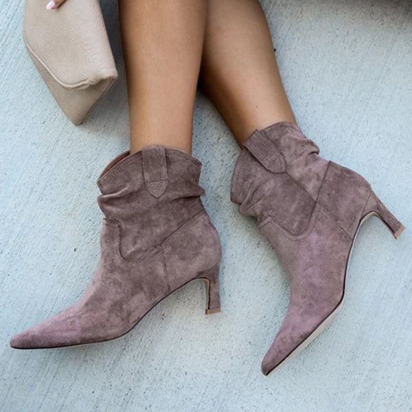 Charmystery Faux Suede Heeled Scrunch Boots