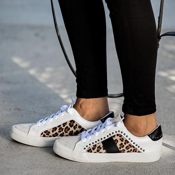 Charmystery Studded Leopard Sneakers