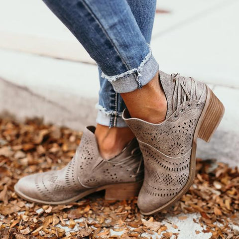 Charmystery Laser Cutout Ankle Booties