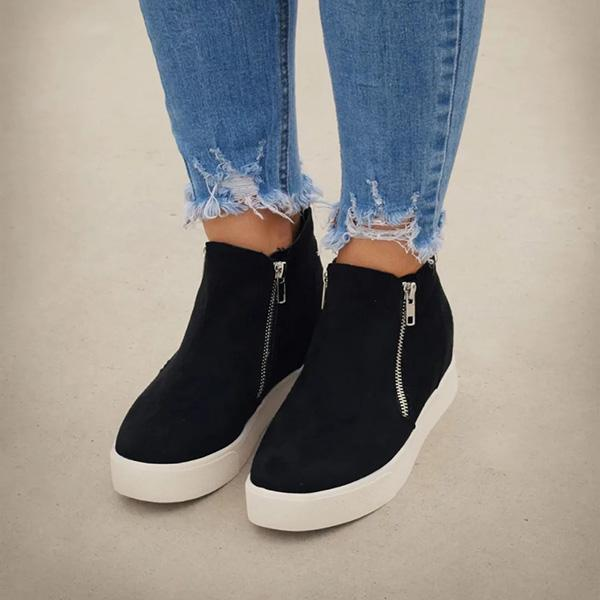 Charmystery Textured Wedge Sneakers
