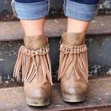Charmystery Artificial Leather Tassel Wedge Boots