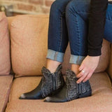 Charmystery Women Black Ankle Zipper Boots