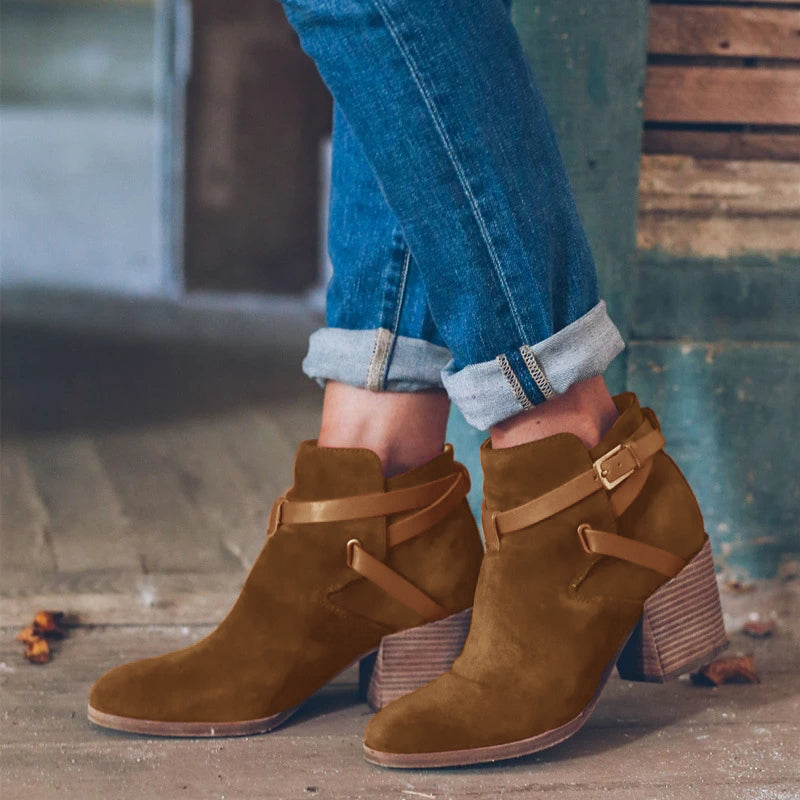 Charmystery Belt Buckle Pure Color High Heel Ankle Boots