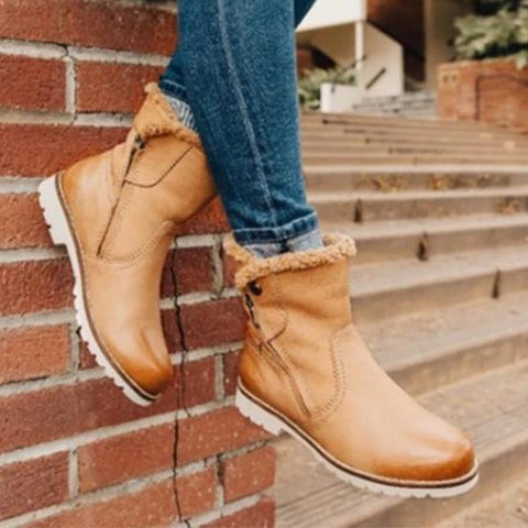 Charmystery Zipper Low Heel Winter Boots