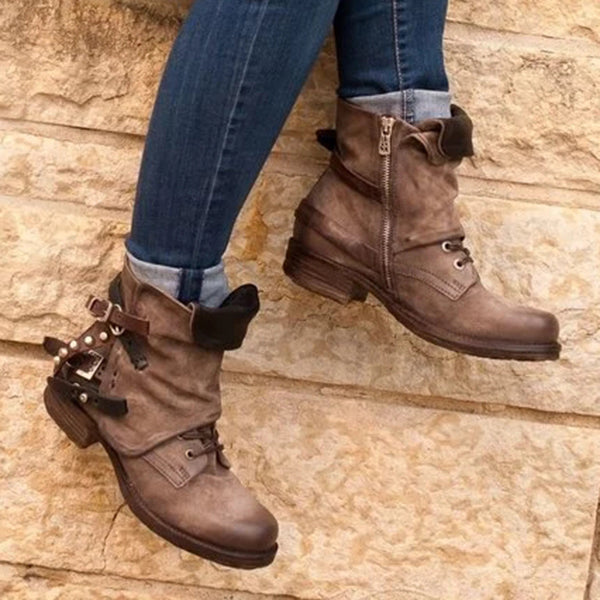 Charmystery Brown Low Heel Spring/fall Boots