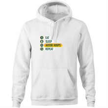 Load image into Gallery viewer, Eat and Sleep Aussie Hoops Pocket Hoodie