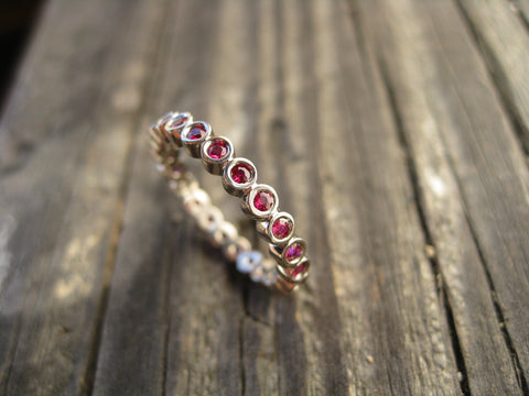 jack ruby ring: a 14k palladium white gold eternity band set with rubies to commemorate Jack's birth :) designed to be stacked for possible future rings ;)