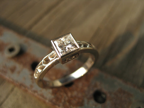 kate's birthday ring: 14k palladium custom white gold birthday ring - with .50ct princess cut diamond