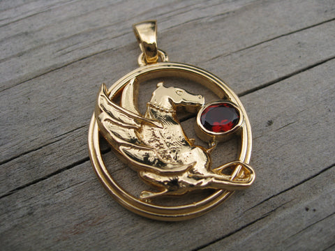 dragon garnet pendant: heirloom gold and garnet custom dragon pendant designed from customers drawing