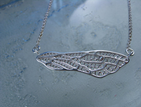 danika mini dragonfly wing necklace: sterling silver lacey dragonfly wing set with a tiny Japanese pearl (June birthstone)