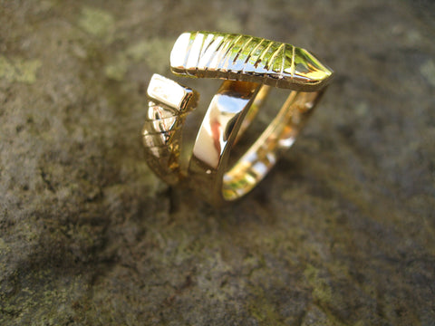 double wrap hockey stick ring gold: 14k yellow gold double wrap hockey stick ring