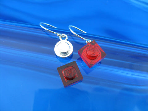 round single brick earrings