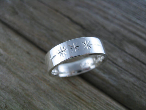 brian ring - sterling silver hand crafted wedding band with rustic pattern