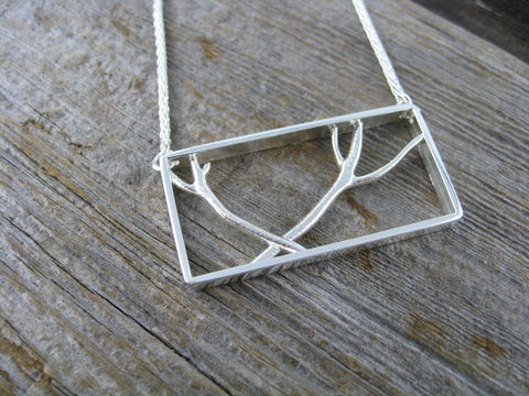 michelle necklace - custom sterling silver necklace of branches in a frame for a special birthday.