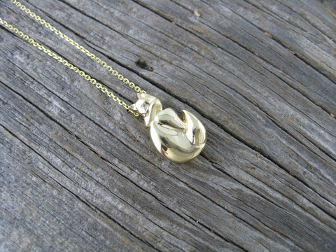 kristin fox pendant in 18K yellow gold - custom designed from a simple line drawing.