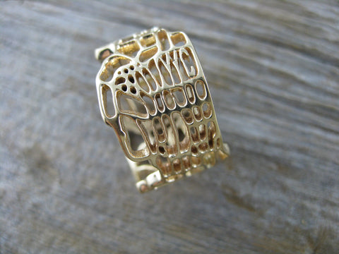 gold YYC ring - 14K yellow gold map of Calgary ring.