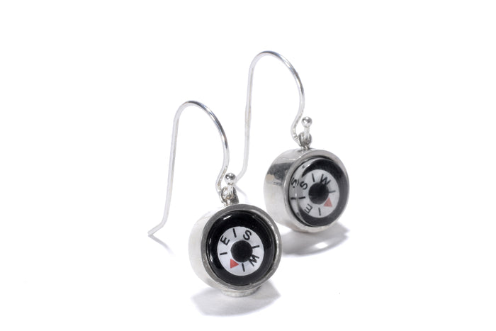 mini working compass earrings