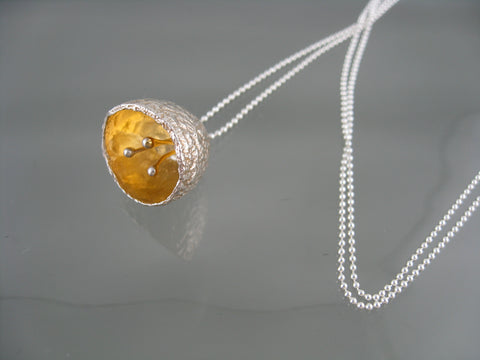 silk worm pod - surprise necklace