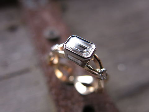 jane ring: 14k palladium white gold and heirloom 14k yellow gold set with heirloom stones - complete custom ring redesign.