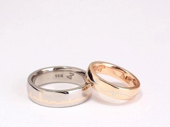 Lee + Yana Heartbeat Wedding Bands
