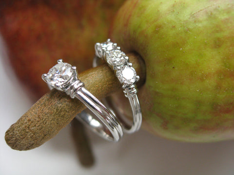 <p>caitlin set: 14k white gold rings with heirloom diamonds</p>