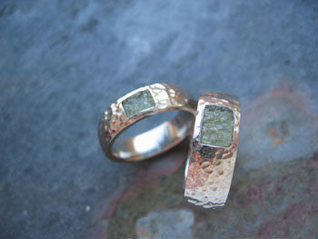 <p>kwynn and peter bands: 18k palladium white gold and moldavite</p>