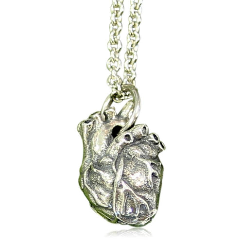 Anatomical Heart Charm Necklace Little Solid Sterling Silver Anatomic Heart Pendant Necklace