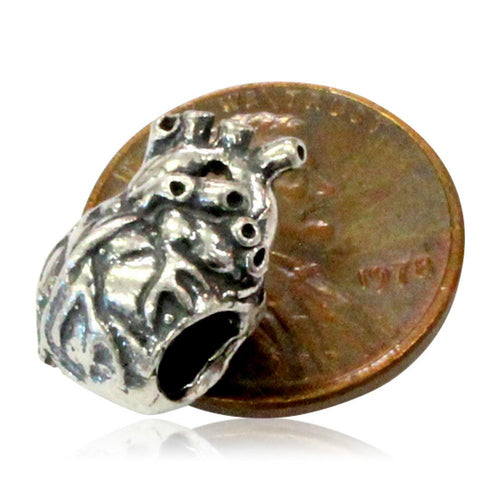 Anatomical Heart - 925 Sterling Silver European Style Charm Bead - Fits most Major Brands