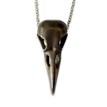 Load image into Gallery viewer, Black Raven Skull Necklace